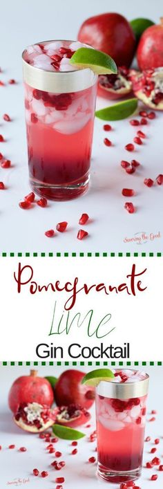 This is a tasty cocktail featuring pomegranate juice, pomegranate arils, fresh lime juice and your choice of gin or vodka. Perfect for a holiday party, cocktail party or winter gathering. #Cocktail #pomegranates in partnership with @giantfoodstores
