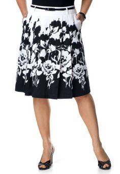 Floral Border Print Skirt - Christopher & Banks