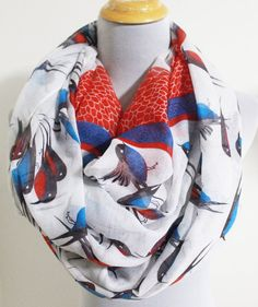 Cute White Blue Birds Infinity Scarf Blue Birds with Red Pebbles prints Scarf Chunky Infinity Scarf Loop Scarf via Etsy