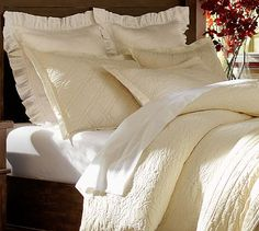 Rustic Luxe Bedding - Ivory #potterybarn; perhaps want to go with one of the other colors ~ blues, sable or flagstone.  Have to see Wheat color first because it looks a little too gold.  Layer mix of silk, linen, cotton, velvet & matelasse.  Want Silk Channel Quilt & Sham, Valerie Matelasse' Duvet & Sham, Linen Euro Sham, and Washed Velvet Silk Standard Sham.