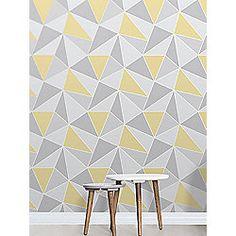 Apex Geometric Wallpaper Yellow and Grey Fine Decor FD41991