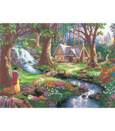 Thomas Kinkade Snow White Discovers The Cottage Counted Cross Stitch Kit: counted cross stitch kits: cross stitch: needle arts: Shop | Joann.com