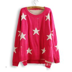 Lucky Stars Loose Woman Round Neck Batwing Sleeve Sweater