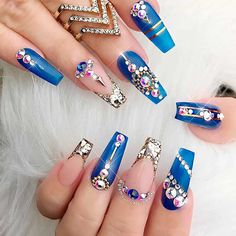 """If you're unfamiliar with nail trends and you hear the words """"coffin nails,"""" what comes to mind? It's not nails with coffins drawn on them. It's long nails with a square tip, and the look has. Acrylic Nails Natural, Best Acrylic Nails, Acrylic Nail Designs, Nail Art Designs, Nails Design, Acrylic Art, Natural Nails, Gold Designs, Fancy Nails"""