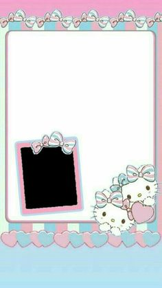 Picture Frame Layout, Picture Frames, Hello Kitty Wallpaper, Kawaii Wallpaper, Cat Birthday, Happy Birthday, Polaroid Frame, Hello Kitty Pictures, Cute Frames