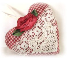 Sachet Heart Country Cottage Chic RED CHECK