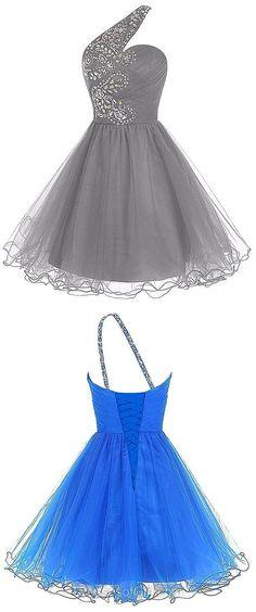 One Shoulder Prom Dress, Grey Prom Dresses, Tulle Homecoming Dress, Short Homecoming Dresses, Beaded Cocktail Dress