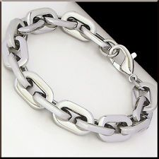 """FASHION MEN'S SHINY OVAL CHAIN Stainless Steel Link Bracelet 8.9"""" Silver Color"""