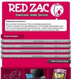 www.facebook.com/... || Kunde: Red Zac Austria || Konzept, Betreuung und Bewerbung Facebook Seite Facebook, Concept, Tips