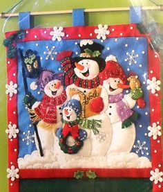 Bucilla Snowmen Greeting Card Holder Felt Kit 86115 New Unopened Christmas Wood, Christmas Snowman, Christmas Projects, Handmade Christmas, Christmas Stockings, Christmas Ornaments, Xmas, Snowman Crafts, Felt Crafts