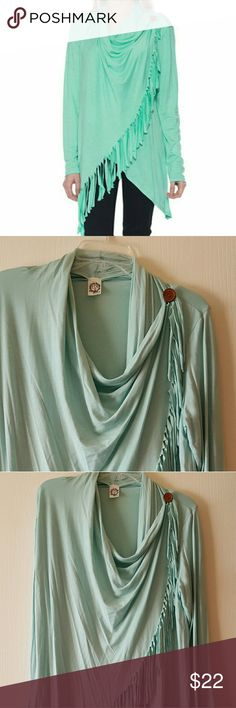 Mint blue poncho style shirt Fringe detail on front, wooden button, long sleeves sun & moon Tops