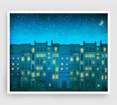 あなただけでは パリ イラスト パリ アート プリント ポスター ホーム装飾壁装飾現代建築図ターコイズ by tubidu