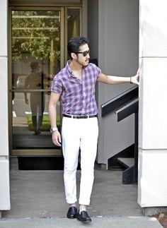 Purple x white style #men #fashion #street #style #white #summer