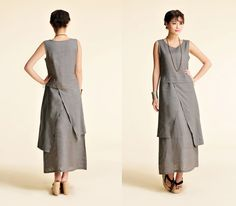 Plum Blossoms/ Asian- style Linen Long Dress with its Skirt in Two Layers/ 22 Colors/ RAMIES