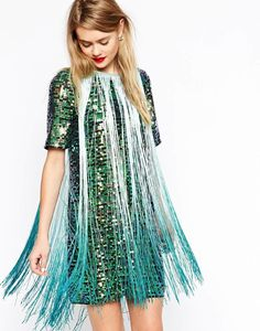 The flapper look is updated with a sequin and multi-colored design. ASOS T-Shirt Sequin & Fringe Dress.
