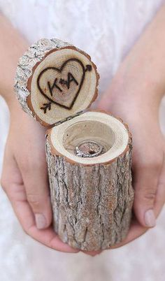 Personalized Rustic Wood Ring Bearer Pillow Box Alternative Tree Stump
