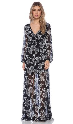 Lucca Couture Sheer Maxi Dress in Black Floral | REVOLVE