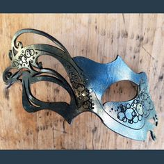 Vytina Sea Goddess Blue Gold Leather Mask by Ashes of Arcadia