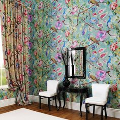 flowery, colourful wallpaper and curtains, James Dunlop Textiles | Upholstery, Drapery & Wallpaper fabrics