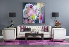 high fashion home gray wall white sofa purple rug living room