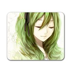 """Cute Green Hair Girl 9.5"""" x 8"""" Rectangular Mousepad 9.5'' x 8''... (31 BRL) ❤ liked on Polyvore featuring home, home decor, green home decor, green home accessories, white home decor and white home accessories"""