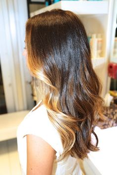 Brunette ombre, color by Johnny Ramirez. I like the lighter shade in the front instead of the ends.