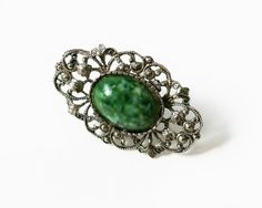 Vintage Victorian Style Ring With Green by PrettyShinyThings4U
