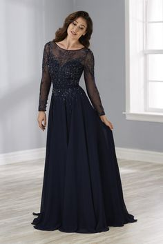Christina Wu Elegance 17901 Romantic Chiffon A-line gown featuring sheer long sleeves, sheer front and back bodice. Dyed to match beading adds a touch of sparkle to th Shrug For Dresses, Mob Dresses, Wedding Dresses, Bridesmaid Dresses, Event Dresses, Dress Prom, Dress Lace, Occasion Dresses, Fancy Dress