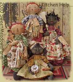 Kitchen Help Doll Pattern Primitive Black and Raggedy Toaster Cover and Bag Holder Primitive Patterns, Primitive Crafts, Primitive Doll, Country Primitive, Doll Clothes Patterns, Doll Patterns, Sewing Patterns, Toaster Cover, Fabric Dolls