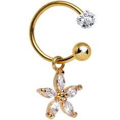 Clear CZ Gold Anodized Titanium Dazzling Daisy Dangle Belly Ring | Body Candy Body Jewelry #bodycandy