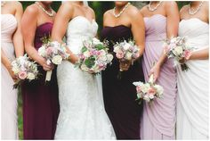 Bridesmaids dresses in all different shades of purple! Gorgeous pose for bridesmaids!
