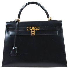 b5322142f386 Hermes Black Box Calf Leather Gold Hardware