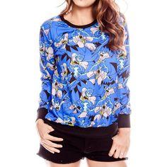 Blue Batman Print Long Sleeve Sweatshirt ($22) ❤ liked on Polyvore featuring tops, hoodies, sweatshirts, blue, blue long sleeve top, blue sweatshirt, long sleeve tops, print top and pattern tops