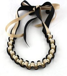 and Pearl Necklace - Black and Gold Ribbon and Pearl Necklace - Pearl Necklace - Beaded Necklace - Gift for Her - Wedding Jewellery Pretty ribbon necklace for bridesmaids.Pretty ribbon necklace for bridesmaids. Ribbon Jewelry, Ribbon Necklace, Cute Necklace, Simple Necklace, Collar Necklace, Jewelry Crafts, Beaded Jewelry, Handmade Jewelry, Beaded Necklace