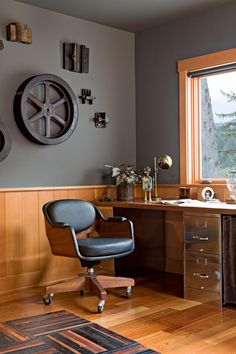 Merveilleux Home Office Industrial With Rustic Next To Black Cabinets Alongside  Industrial Home Offices, Rustic Home