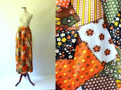 70s Patchwork Quilt Print Cotton Maxi Skirt | Vintage 1970s Brown Orange Green Novelty Print Floral Long Day Skirt | Floral Floor Length XXS