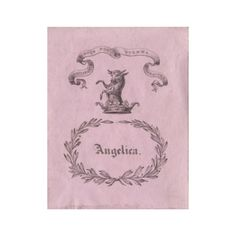 antique bookplate / angelica. / england late 1700s