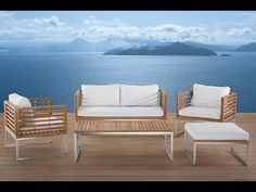 Edelstahl Gartenmöbel Set - Tisch - Sofa - 2x Sessel - Ottoman - BERMUDA