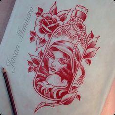 (by jasonminauro) Morning coffee and a sketch. Retro Tattoos, Pin Up Tattoos, Rose Tattoos, Traditional Tattoo Love, Traditional Sleeve, Tattoo Flash Sheet, Tattoo Flash Art, Tattoo Old School, Tattoo Sketches