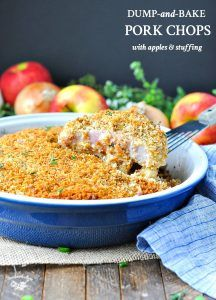 Welcome autumn with an easy one dish dinner recipe -- Dump-and-Bake Boneless Pork Chops with Apples and Stuffing! It's a simple meal with minimal prep!