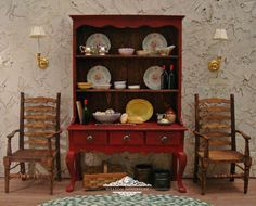French Country Blood Red Farmhouse Hutch 1:12 Scale Miniature Dollhouse Furniture