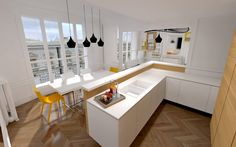 Déco cuisine : Appartement Haussmannien Moderne // http://www.deco ...
