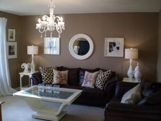 brown living room; we slready started painting this color! Love this idea