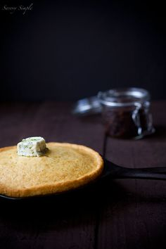 Skillet Cornbread with Bacon Jam and Chive Compound Butter | www.savorysimple.net | #dark #food #photography