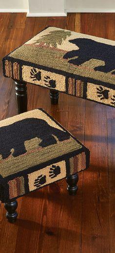 Rustic Furniture   Black Bear Footstool & Rustic Bench