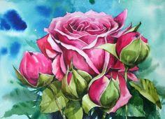 남일 수채화 Gallery Watercolour Painting, Watercolor Flowers, Flower Prints, Flower Art, Mosaic Art, Pretty Pictures, Blog, Watercolour, Gardening