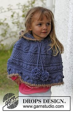 Crochet Edgings Design Ravelry: Hermione - Poncho with textured pattern and hood in Nepal. Pompoms and crochet edges in Symphony pattern by DROPS design Baby Patterns, Knitting Patterns Free, Free Knitting, Baby Knitting, Free Pattern, Crochet Patterns, Crochet Edgings, Easy Crochet, Knit Crochet