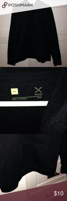 EUC fleece-lined black hoodie, Xersion, XL EUC, sooo warm & comfy, has a drawstring hood, front pocket, fleece-lined and thumb holes. Great basic black! Tops Sweatshirts & Hoodies
