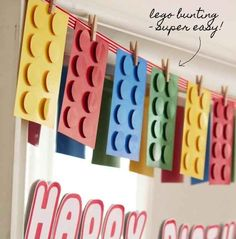 Brighten things up with super easy Lego bunting. | How To Throw The Ultimate LEGO Birthday Party