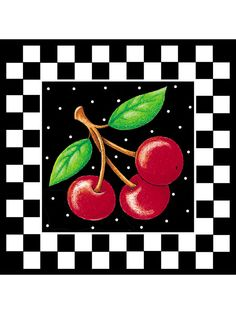 Mary Engelbreit Black Cherries White Checks Chered 25 Wallies Cherry Wall Decals #Wallies #WalliesCutouts I have used these to decorate my classroom.